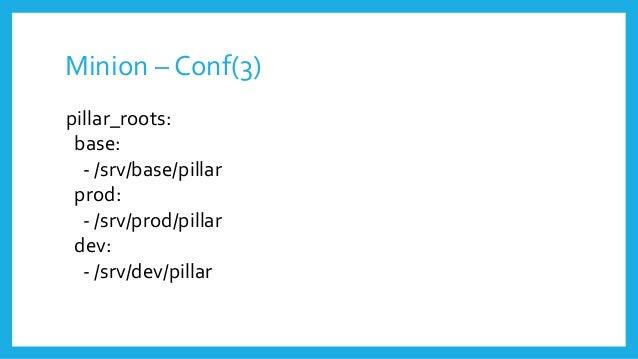 Minion – Conf(3) pillar_roots: base: - /srv/base/pillar prod: - /srv/prod/pillar dev: - /srv/dev/pillar