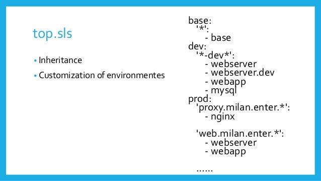 top.sls base: '*': - base dev: '*-dev*': - webserver - webserver.dev - webapp - mysql prod: 'proxy.milan.enter.*': - nginx...