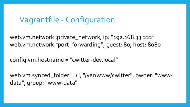 "Vagrantfile - Configuration web.vm.network :private_network, ip: ""192.168.33.222"" web.vm.network ""port_forwarding"", guest:..."