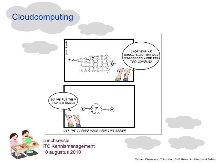 Cloudcomputing Lunchsessie ITC Kennismanagement 10 augustus 2010 Richard Claassens, IT Architect, SNS Reaal  Architectuur ...