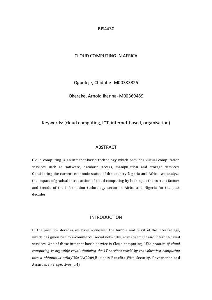 BIS4430                         CLOUD COMPUTING IN AFRICA                        Ogbeleje, Chidube- M00383325             ...