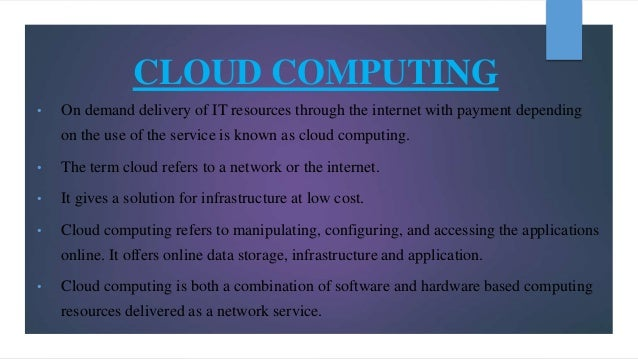 basic concept of Cloud computing and its architecture