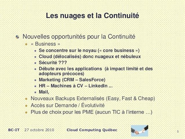 informatique en nuage et continuit u00e9 des affaires
