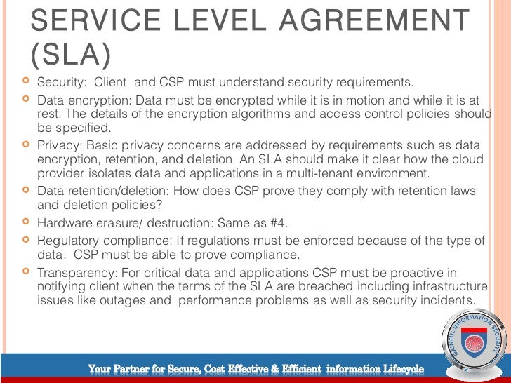Cloud computing service level agreements – Service Level Agreement
