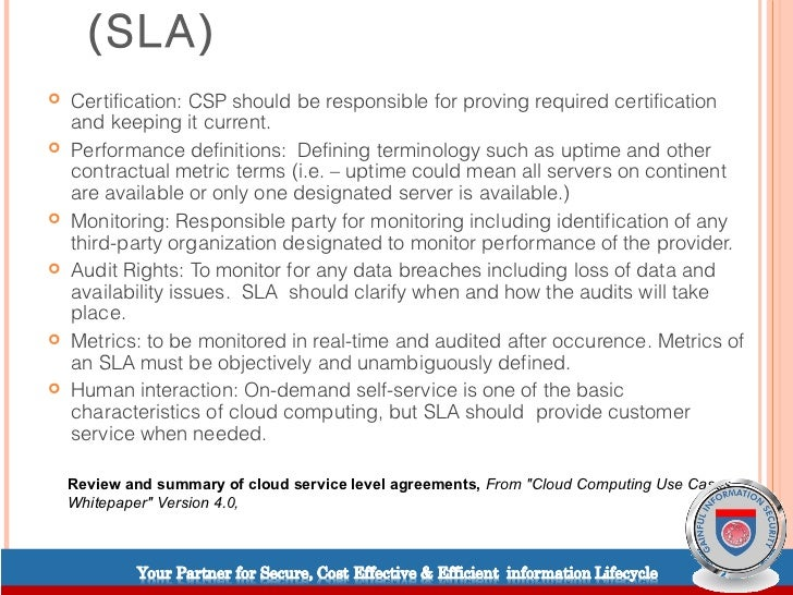 Cloud Computing & Service Level Agreements