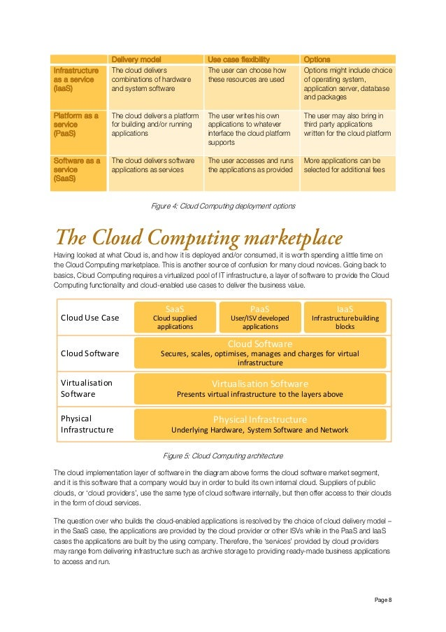 Page 8 Delivery model Use case flexibility Options Infrastructure as a service (IaaS) The cloud delivers combinations of ...