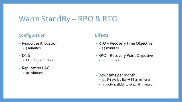 recovery point objective template - disaster recovery on premise cloud