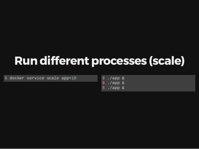 Run different processes (scale) $ docker service scale app=10 $ ./app & $ ./app & $ ./app &