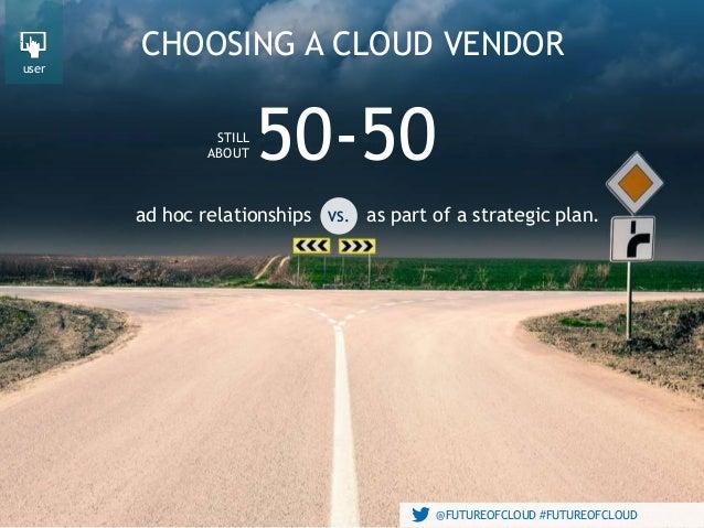 @FUTUREOFCLOUD #FUTUREOFCLOUD ad hoc relationships CHOOSING A CLOUD VENDOR 50-50 @FUTUREOFCLOUD #FUTUREOFCLOUD as part of ...