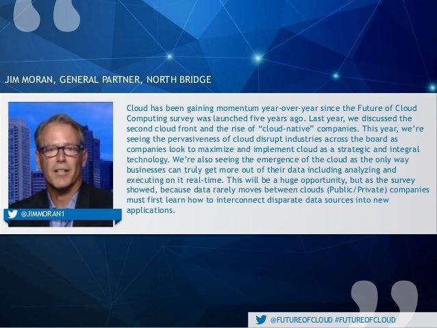 @FUTUREOFCLOUD #FUTUREOFCLOUD JIM MORAN, GENERAL PARTNER, NORTH BRIDGE Cloud has been gaining momentum year-over-year sinc...