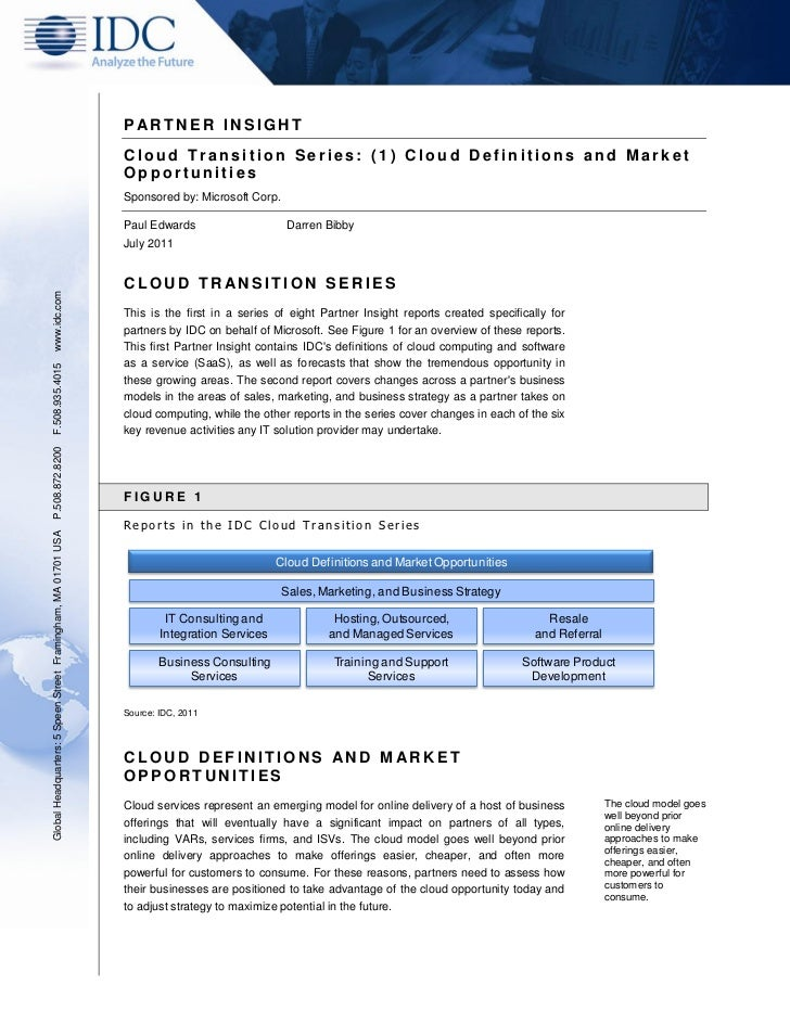 P ARTNER INSIGHT                                                               Cloud Transition Series: (1) Cloud Definiti...