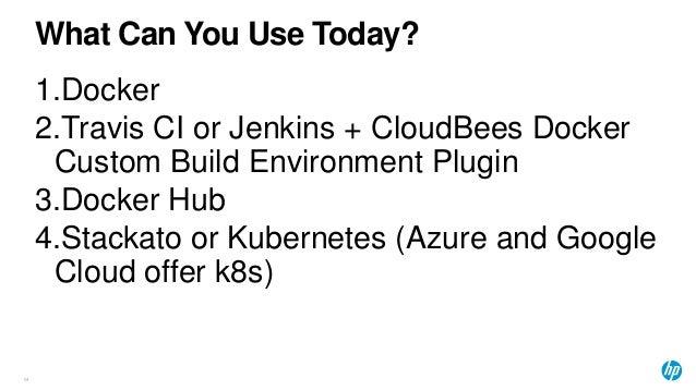 What Can You Use Today? 64 1.Docker 2.Travis CI or Jenkins + CloudBees Docker Custom Build Environment Plugin 3.Docker Hub...