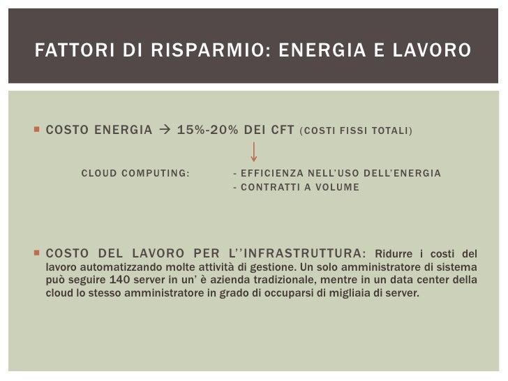 FATTORI DI RISPARMIO: ENERGIA E LAVORO COSTO ENERGIA  15%-20% DEI CFT                   ( COSTI FISSI TOTALI)       CLOU...