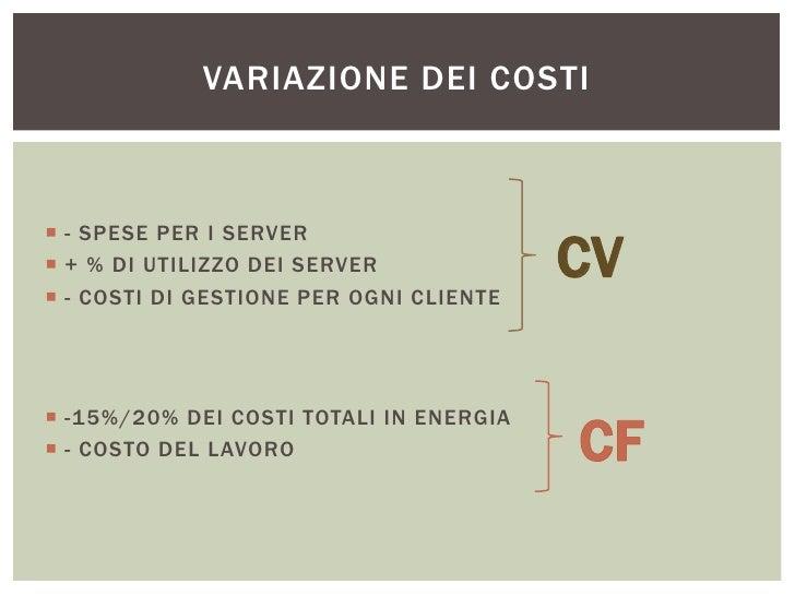 VARIAZIONE DEI COSTI - SPESE PER I SERVER + % DI UTILIZZO DEI SERVER - COSTI DI GESTIONE PER OGNI CLIENTE              ...