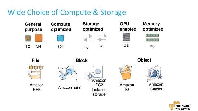 GPU enabled General purpose Memory optimized Storage optimized Compute optimized G2M4 R3C4 I 2 D2T2 Amazon EFS Amazon EBS ...