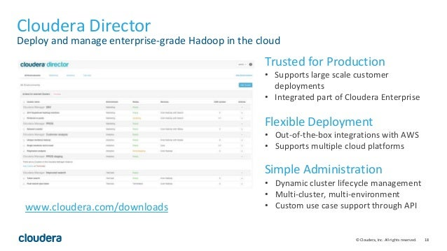18© Cloudera, Inc. All rights reserved. Cloudera Director Deploy and manage enterprise-grade Hadoop in the cloud Trusted f...