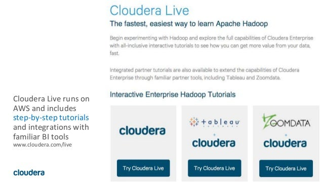 36© Cloudera, Inc. All rights reserved. Cloudera Live runs on AWS and includes step-by-step tutorials and integrations wit...