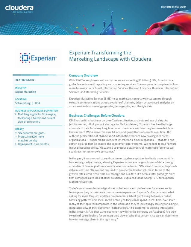 CUSTOMER CASE STUDY                                        Experian: Transforming the                                     ...