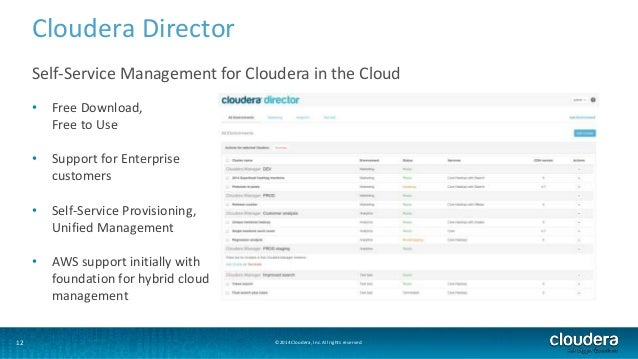 Cloudera Director  Self-Service Management for Cloudera in the Cloud  • Free Download,  Free to Use  • Support for Enterpr...