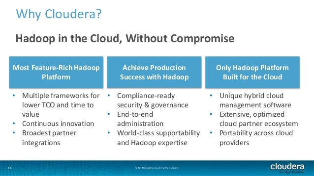 Why Cloudera?  Hadoop in the Cloud, Without Compromise  Most Feature-Rich Hadoop  Platform  Achieve Production  Success wi...