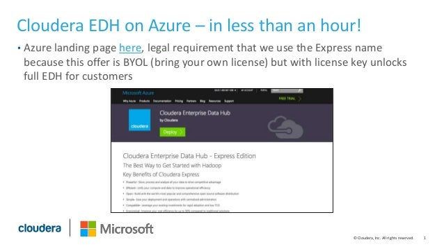 1© Cloudera, Inc. All rights reserved. Cloudera EDH on Azure – in less than an hour! • Azure landing page here, legal requ...