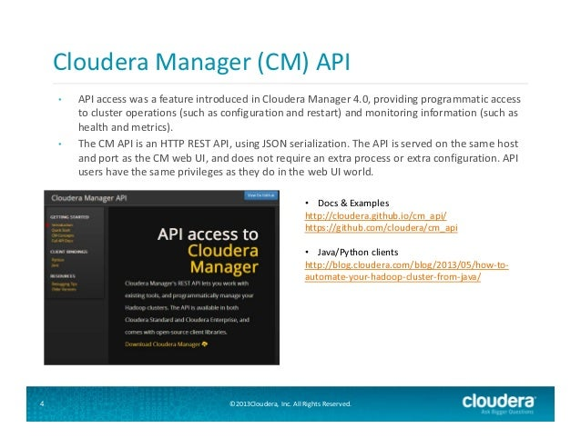 Cloudera User Group SF - Cloudera Manager: APIs & Extensibility