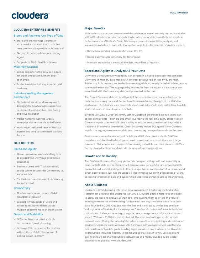 SOLUTION BRIEF Major Benefits With both structured and unstructured data able to be stored securely and economically withi...