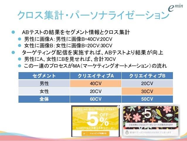 クロス集計・パーソナライゼーション  ABテストの結果をセグメント情報とクロス集計  男性に画像A:男性に画像B=40CV:20CV  女性に画像B:女性に画像B=20CV:30CV  ターゲティング配信を実施すれば、ABテストより結果...