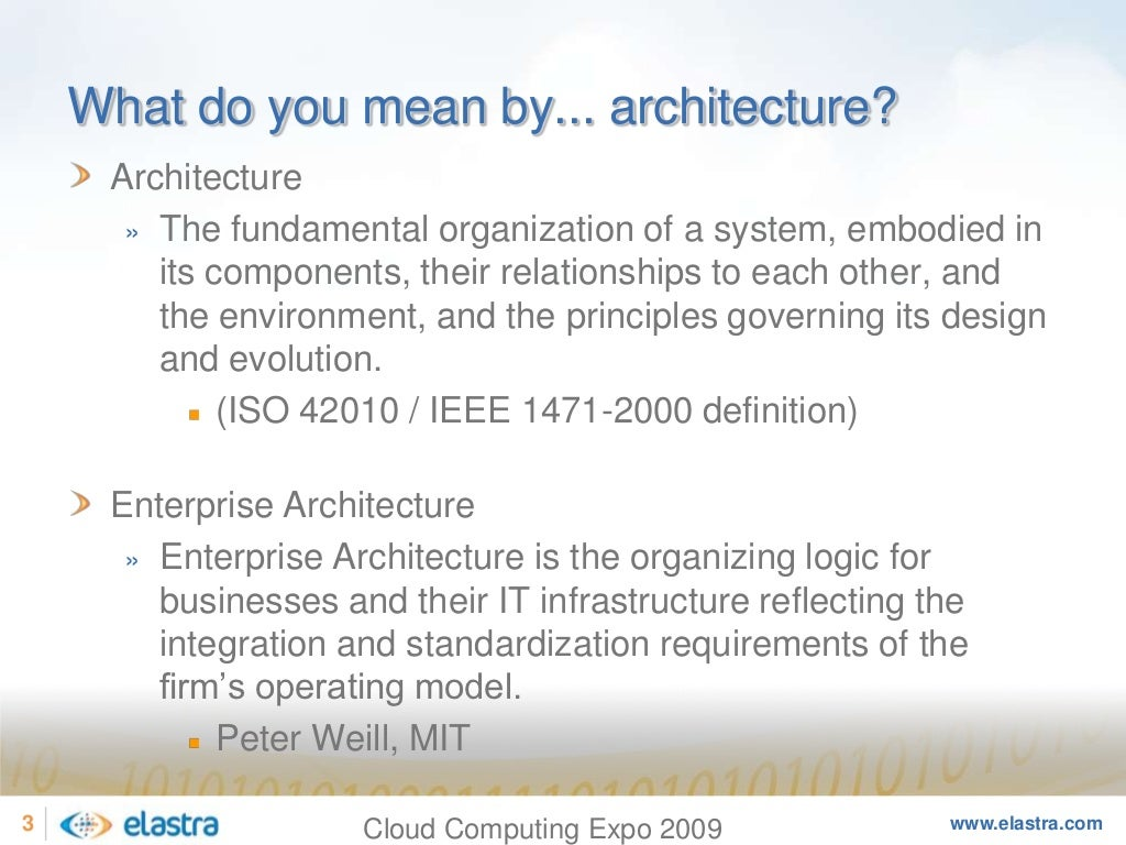 What do you mean by for What does architecture mean
