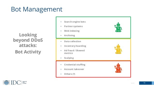 © IDC 16 Bot Management Looking beyond DDoS attacks: Bot Activity ▪ Search engine bots ▪ Partner systems ▪ Web indexing ▪ ...