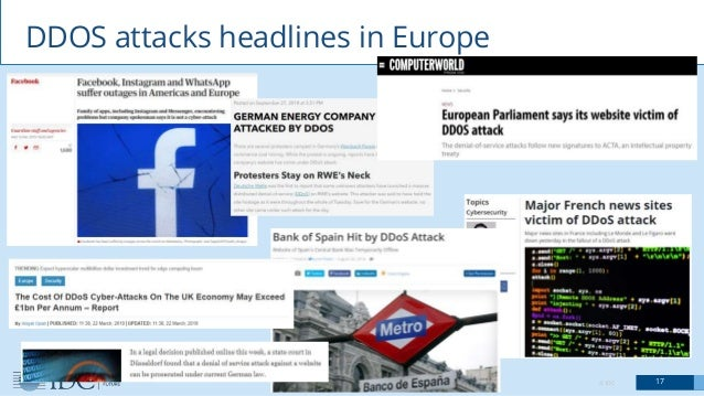 © IDC 17 DDOS attacks headlines in Europe