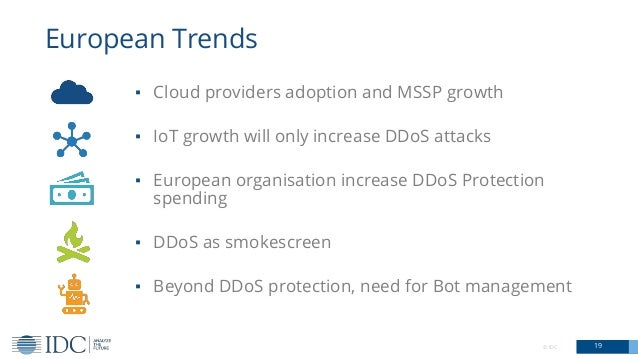 © IDC 19 European Trends ▪ Cloud providers adoption and MSSP growth ▪ IoT growth will only increase DDoS attacks ▪ Europea...