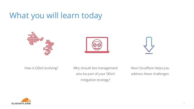 What you will learn today 2 How is DDoS evolving? Why should bot management also be part of your DDoS mitigation strategy?...