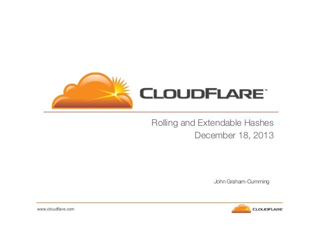 Rolling and Extendable Hashes December 18, 2013  John Graham-Cumming  www.cloudflare.com!