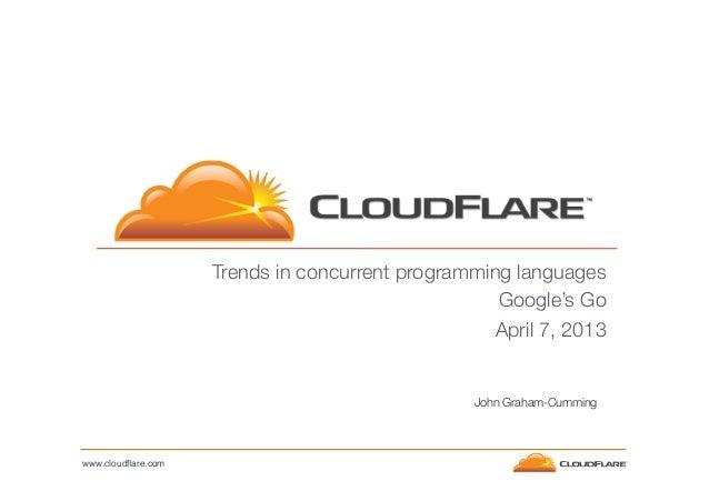 Trends in concurrent programming languages Google's Go  April 7, 2013  John Graham-Cumming  www.cloudflare.com!