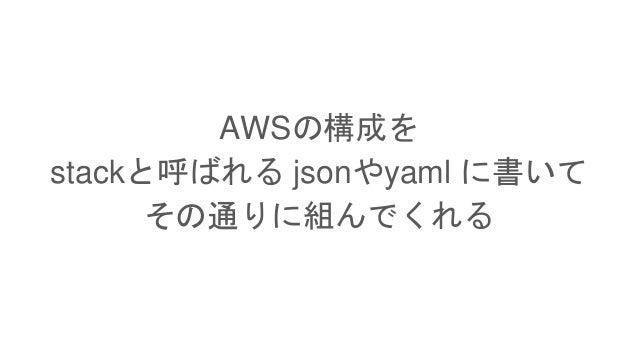 AWSの構成を stackと呼ばれる jsonやyaml に書いて その通りに組んでくれる