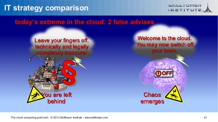 IT strategy comparison    today's extreme in the cloud: 2 false advises                    Leave your fingers off.        ...