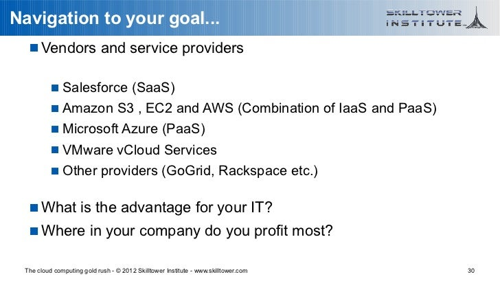 Navigation to your goal...    Vendors and service providers           Salesforce (SaaS)           Amazon S3 , EC2 and A...
