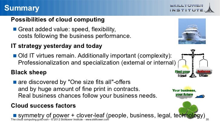 Summary Possibilities of cloud computing    Great added value: speed, flexibility,      costs following the business perf...