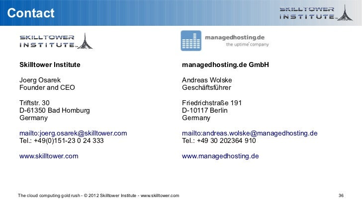 Contact Skilltower Institute                                                               managedhosting.de GmbH Joerg Os...