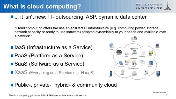 """What is cloud computing?    ... it isnt new: IT- outsourcing, ASP, dynamic data center      """"Cloud computing offers the u..."""