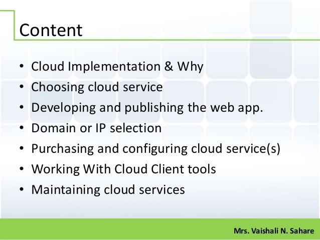 Cloud implementation by vaishali sahare [katkar] Slide 2