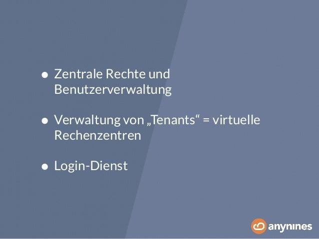"""• Zentrale Rechte und  Benutzerverwaltung  • Verwaltung von """"Tenants"""" = virtuelle  Rechenzentren  • Login-Dienst"""