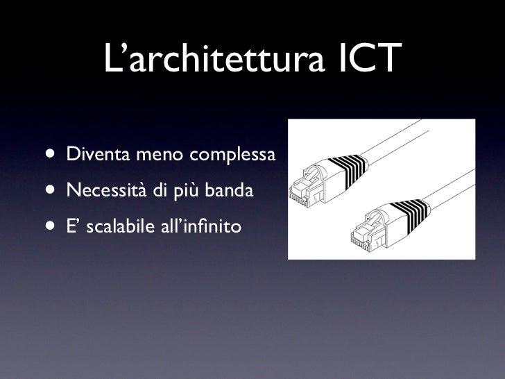 L'architettura ICT• Diventa meno complessa• Necessità di più banda• E' scalabile all'infinito