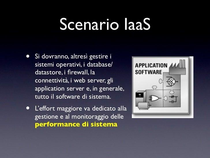 Scenario IaaS•   Si dovranno, altresì gestire i    sistemi operativi, i database/    datastore, i firewall, la    connettiv...