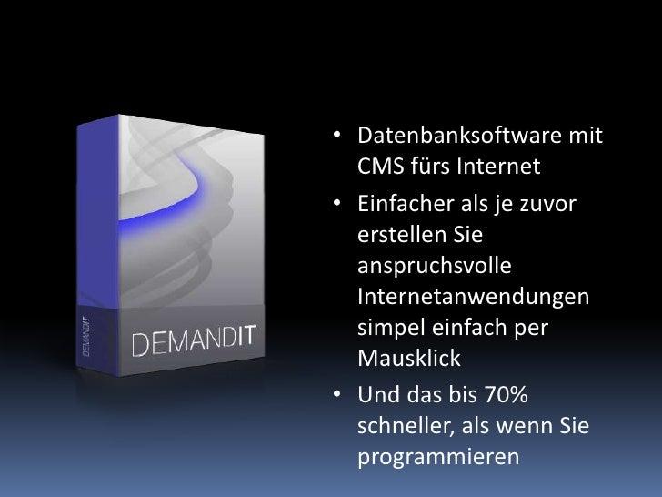Datenbanksoftware mit CMS fürs Internet<br />Einfacher als je zuvor erstellen Sie anspruchsvolle Internetanwendungen simpe...