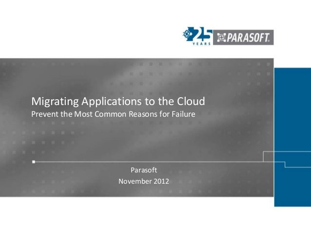 Migrating Applications to the CloudPrevent the Most Common Reasons for Failure                         Parasoft           ...