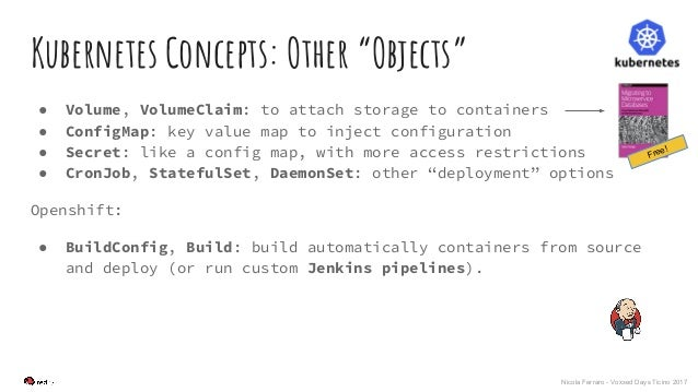 """Nicola Ferraro - Voxxed Days Ticino 2017 Kubernetes Concepts: Other """"Objects"""" ● Volume, VolumeClaim: to attach storage to ..."""