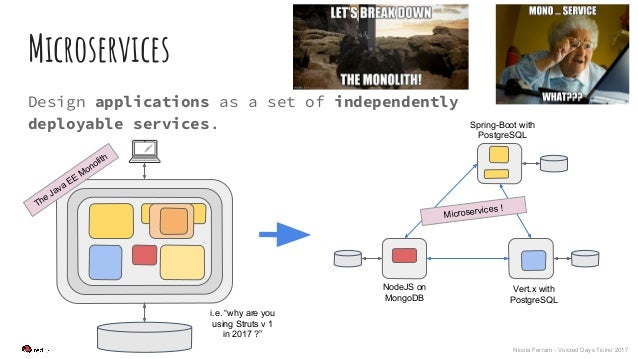 Nicola Ferraro - Voxxed Days Ticino 2017 Microservices Design applications as a set of independently deployable services. ...
