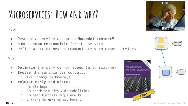 """Nicola Ferraro - Voxxed Days Ticino 2017 Microservices: How and why? How: ● Develop a service around a """"bounded context"""" ●..."""